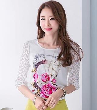 [CM6140] Fashion Woman Casual Wear Top White