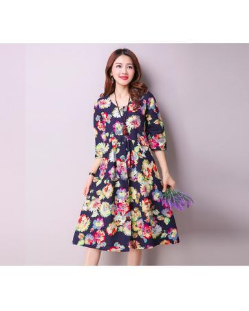 [CM69294BK] Fashion Pretty Floral Dress Black