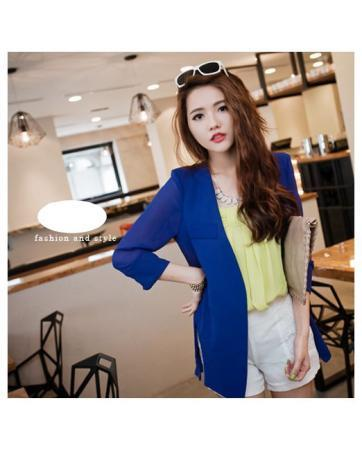 [CM70220B] Women Stylish Cardigan Blue
