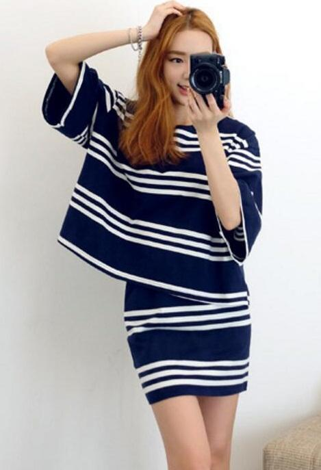 [CM70278] Stripe Top and Skirt As Picture (1 Set)