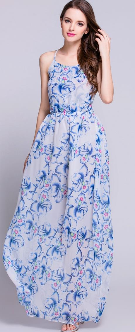 [CM71240B] Fashion Sexy Chiffon Maxi Dress Blue