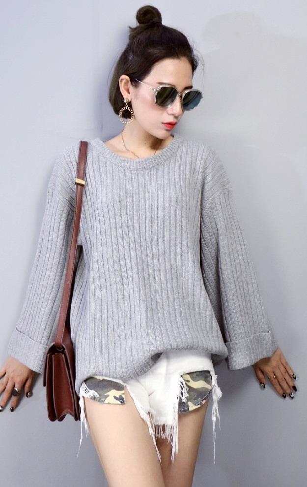 [CM72263-NEW] Women Trendy Knit Top Grey
