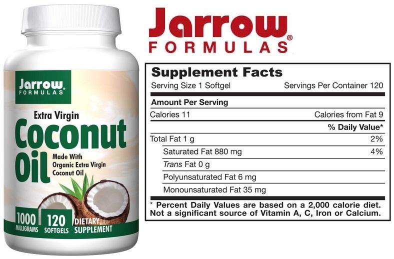Coconut Oil, Extra Virgin 1000 mg, 120 Softgels (Made in USA)