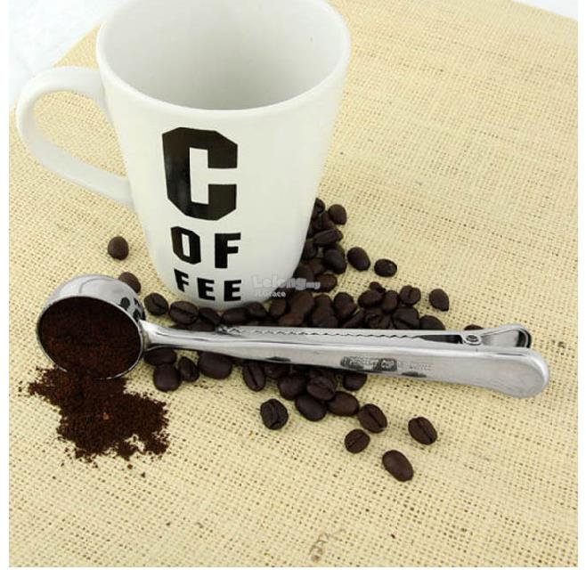 Coffee Powder Bean Cupping Spoon Scoop with Sealing Clip
