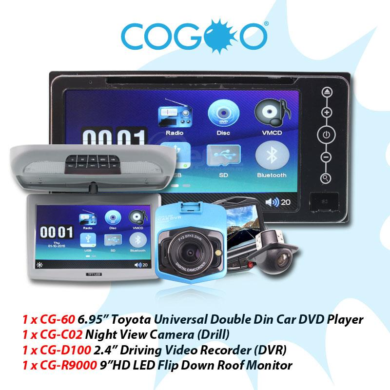 Cogoo Pac 13 - 6.95 Toyota Universal DD Player+Camera+DVR+Roof Monitor