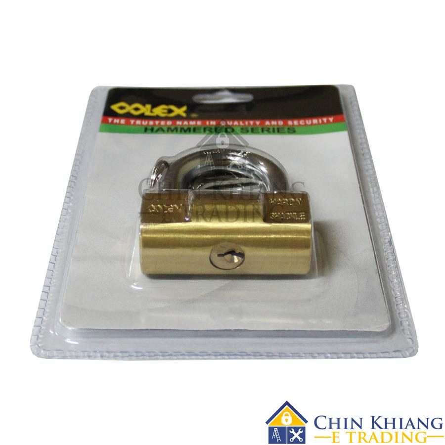 COLEX Cylindrical Hammered Brass Padlock 60mm or 70mm