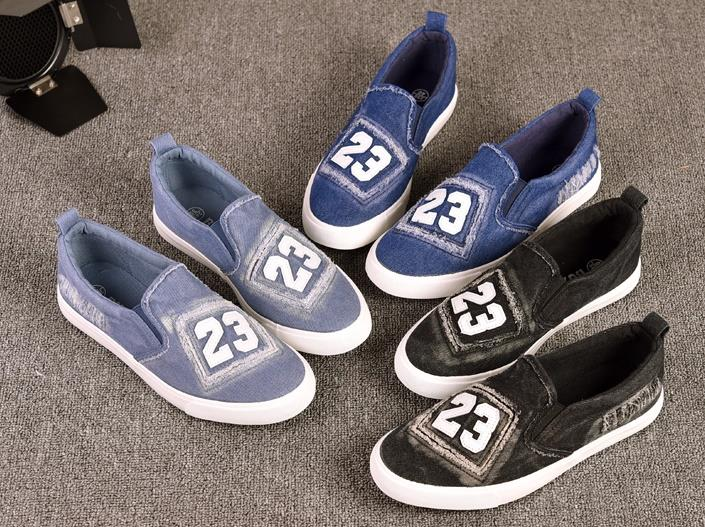 Collage Style Canvas Denim Sneakers Slipon 23