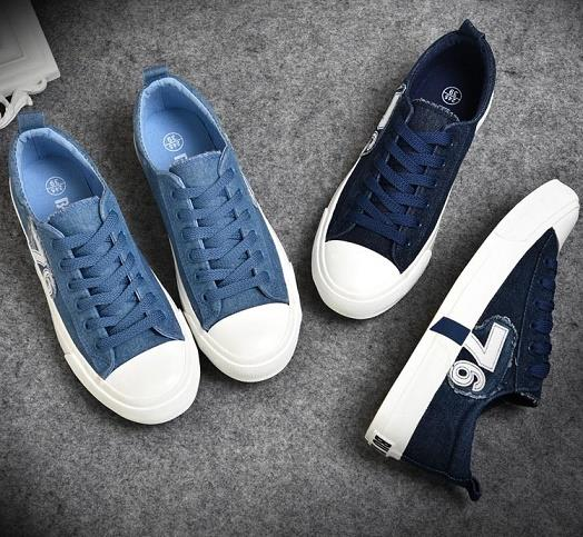 Collage Style Denim 76 Sneakers Slipon With String