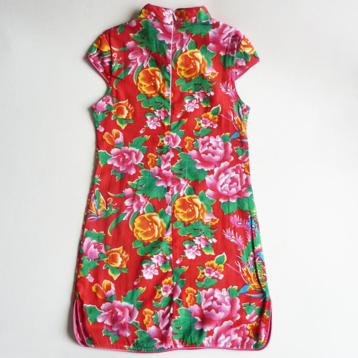 Colorful Bright Red Cotton Floral Cheongsam Dress
