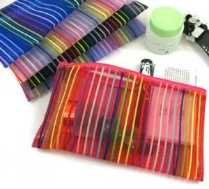 Colourful Cross Line Cosmetic Pouch