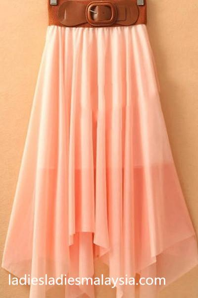 Colourful flare chiffon skirt with belt