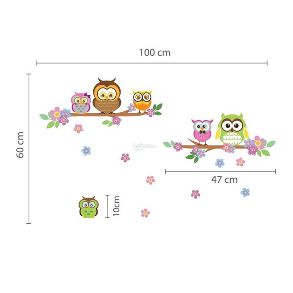 COLOURFUL WALL STICKER OWL FLOWERS TREE