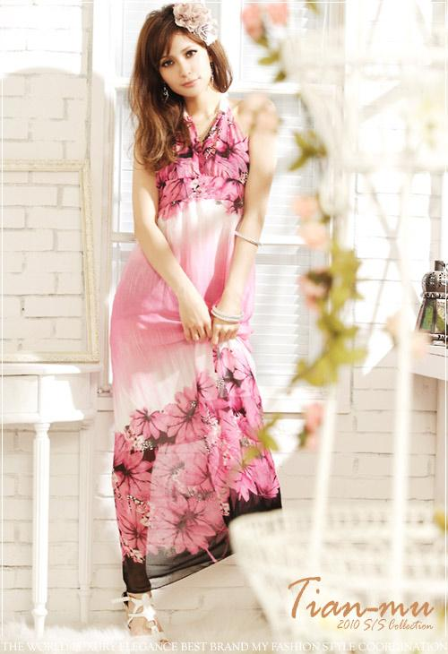 *Comax Store*Romantic Elegant Floral Paint Long Dress [F4618]