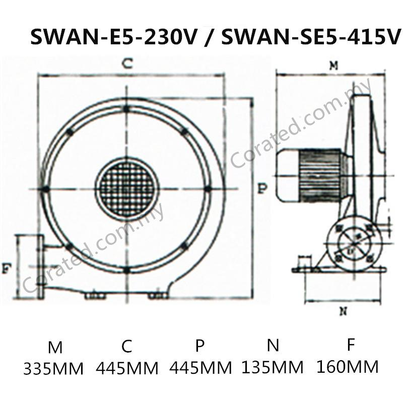 "[Corated] Swan Super Air Blower SE5-4"" 415V 750W"