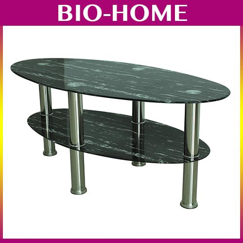 Corona 3ft Tempered Glass Black Pattern Oval Coffee Office Table BS