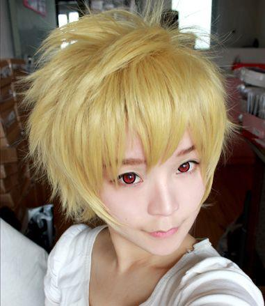 Cosplay men hair wig yellow/ready stock/ rambut palsu