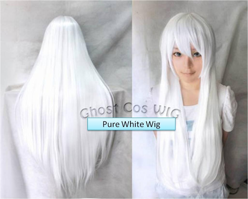 Cosplay pure white wig/ready stock/rambut palsu