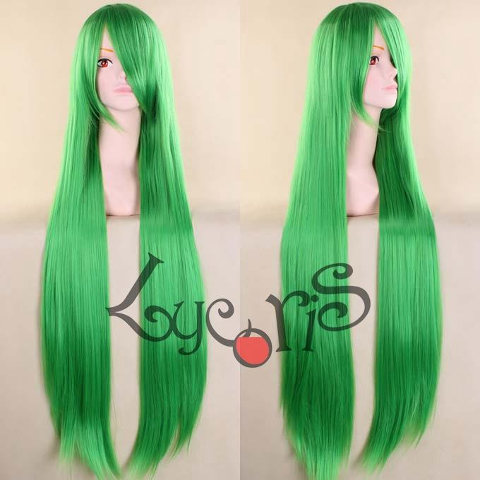 Cosplay wig long curve 100cm Green Grt1 ready stock-rambut palsu