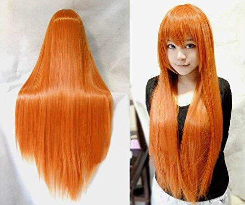 Cosplay wig/ orange straight/ rambut palsu/ ready stock