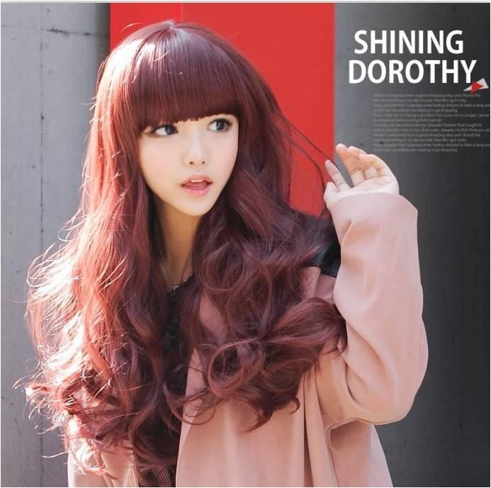 Cosplay Wine Red Long wig*ready stock d22-rambut palsu