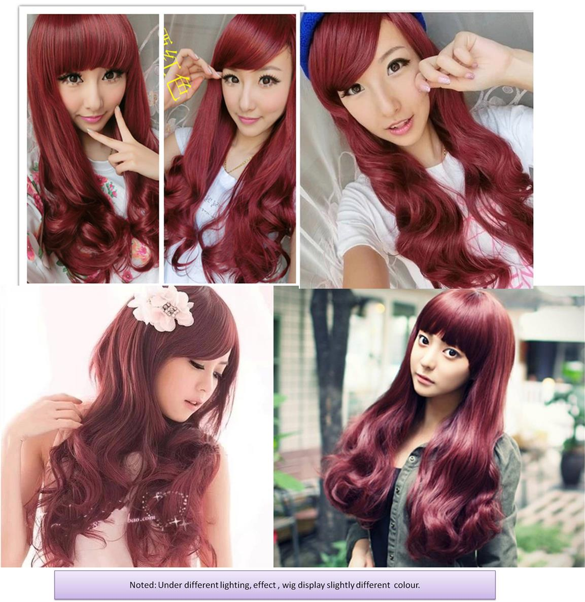 Cosplay Wine red Long wig /ready stock-rambut palsu/promotion