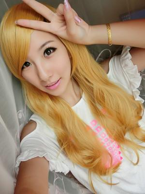 Cosplay yellow long curve wig/ rambut palsu/ ready stock