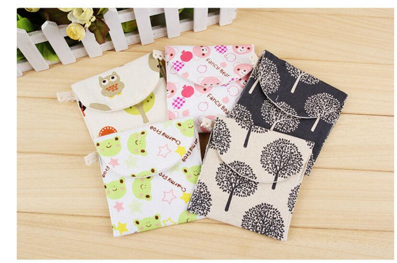 Cotton Cartoon Sanitary Napkin Pouch Sanitary Towel Storage Bag