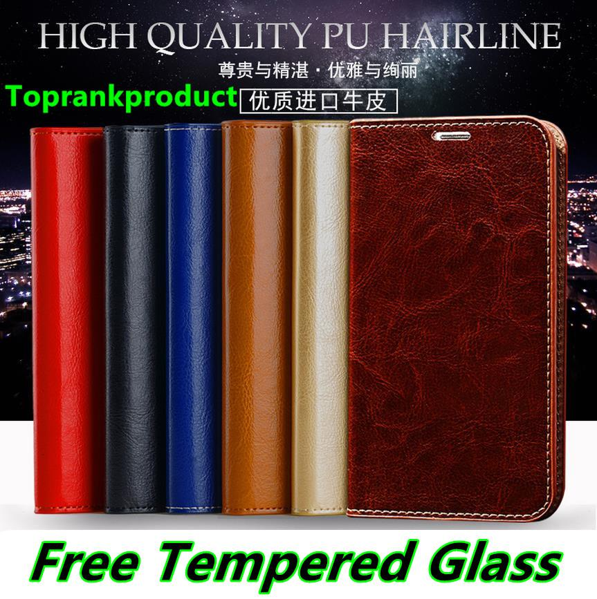 Cow Leather ViVO X7 / Plus Flip Case Cover Casing +Free Tempered Glass