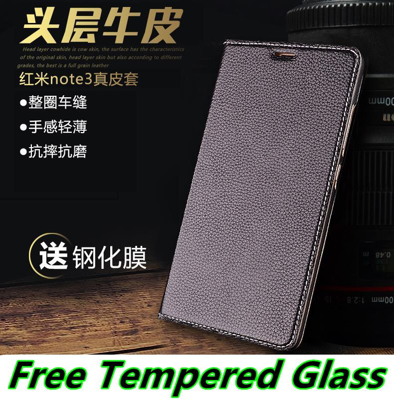 Cow Leather Xiaomi Redmi Note 3 Pro Case Cover Casing + Tempered Glass