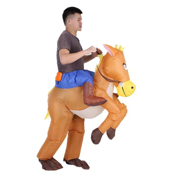 Cowboy Rider on Horse Inflatable Costume Outfit for Adult Fancy Dress