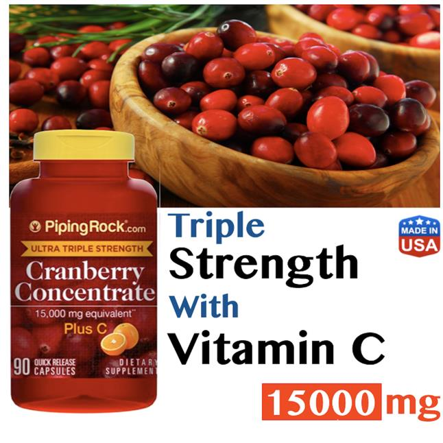Cranberry Concentrate 15000mg, + Vitamin C, 90 Caps (Urine, Prostate)