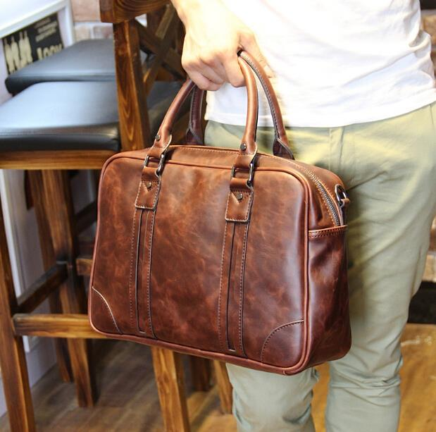Crazy horse leather man business shoulder briefcase