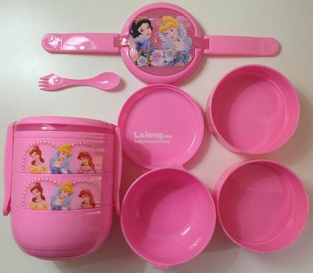 Crazy Sale - Princess 4-Tier Lunch Box Food Container Set (Pink)