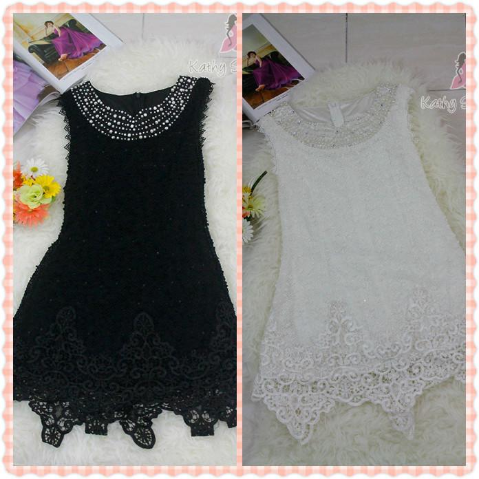 Crew Neck with Pearl Lace Dinner Dress [10124]
