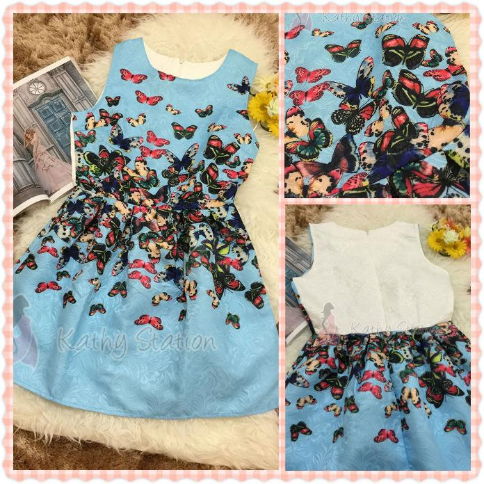 Crew Neck Sleeveless Butterfly Printed Dress [10090BU]