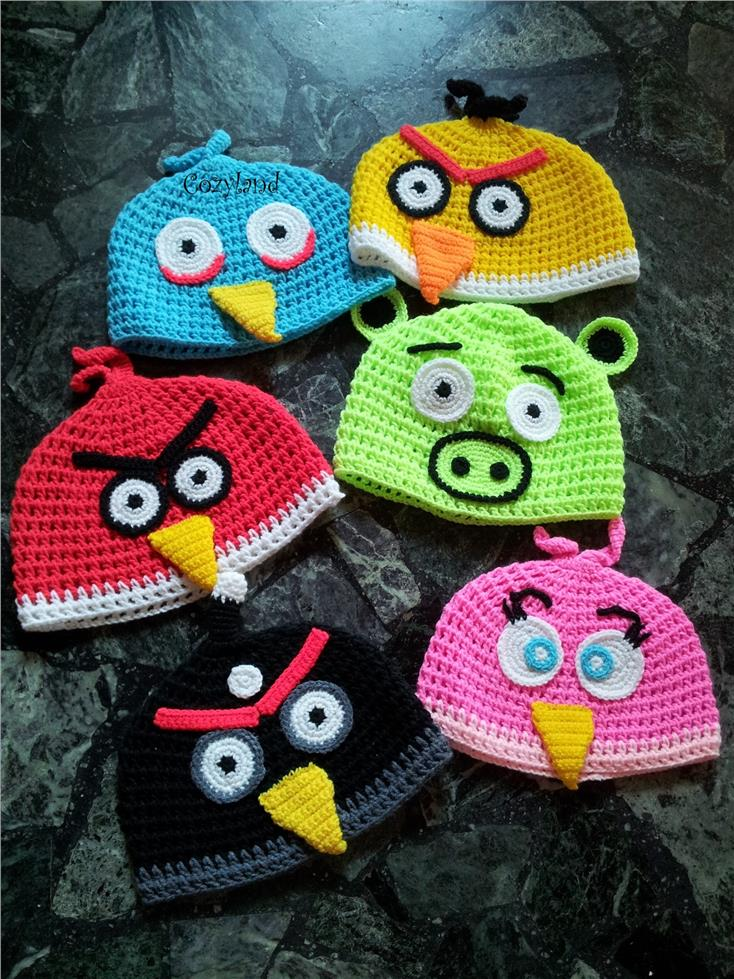 Knitted Childrens Slippers Free Pattern : Crochet Hat - Angry Birds (Penang, end time 6/30/2016 9:15:00 PM MYT)