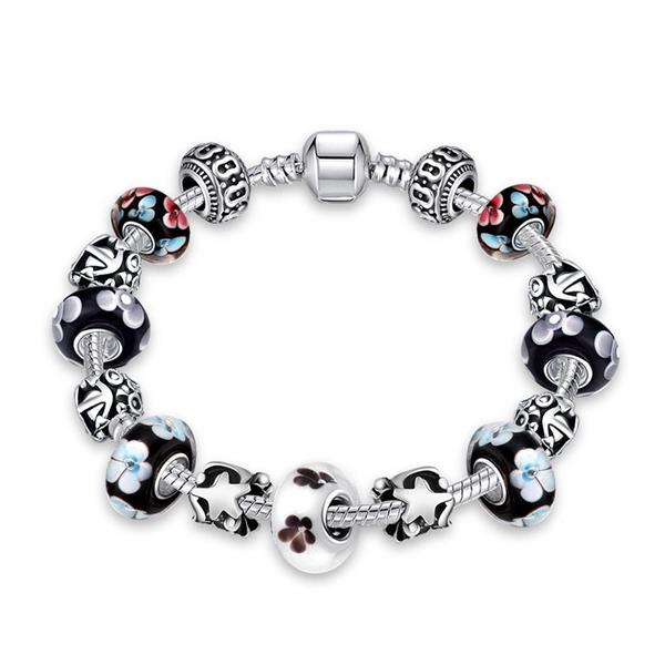 Crystal Beads Silver Plated Metal Chain Bracelet Jewelry for Women
