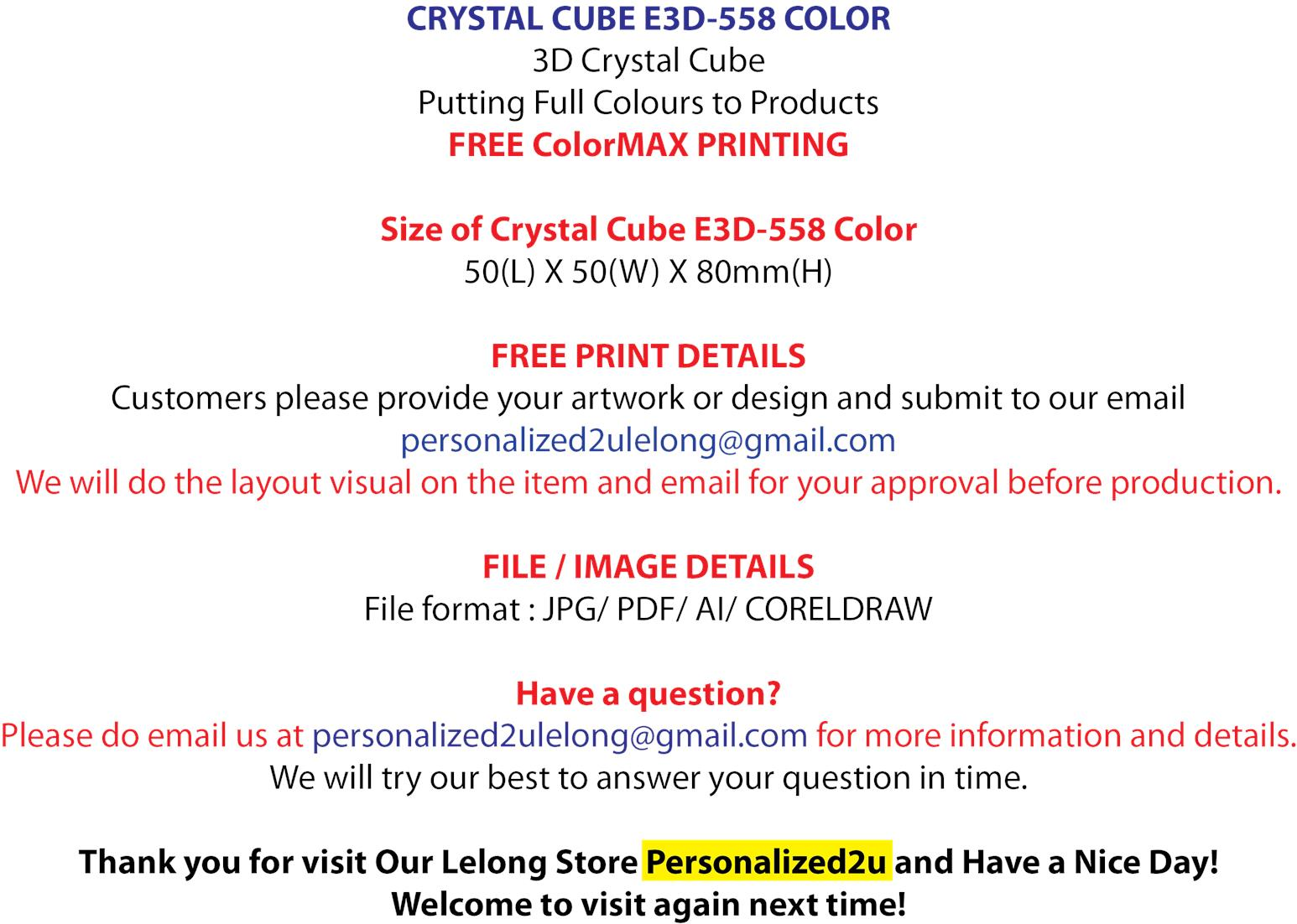 Crystal Cube Color E3D-558