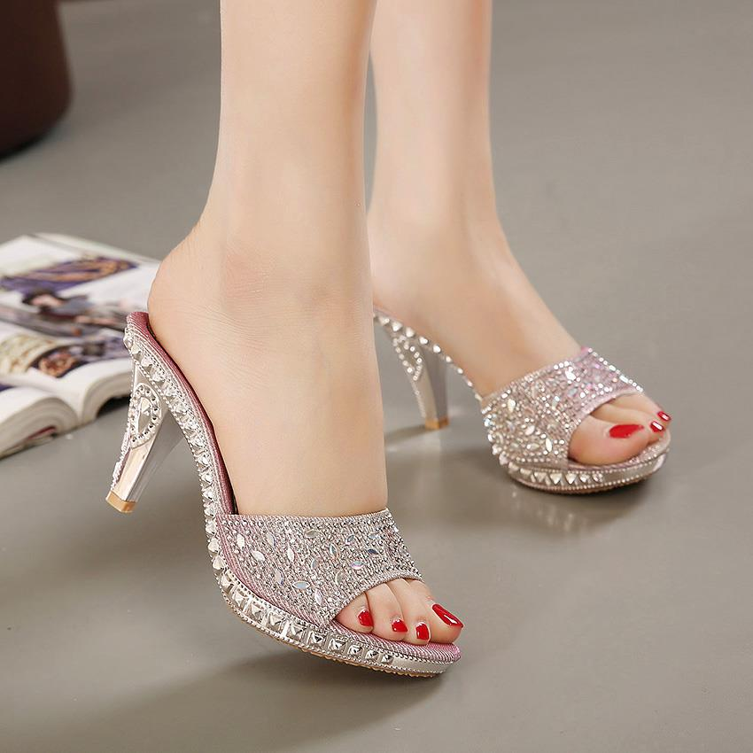 Crystal Embellished High Heels Slipper Open Toe Casual Women's Shoes