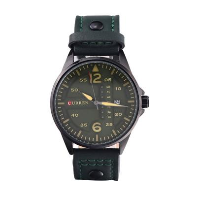 CURREN Luxury Men's Green Color Calendar Function Leather Band Quartz