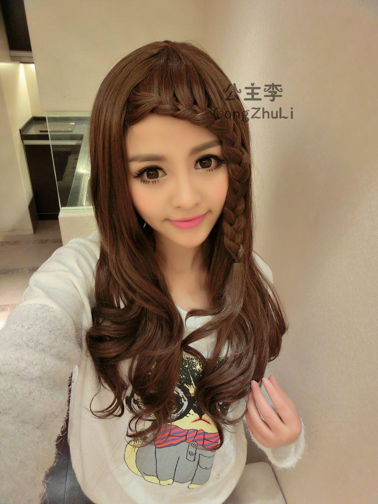 curve wig with braid/ready stock/ rambut palsu