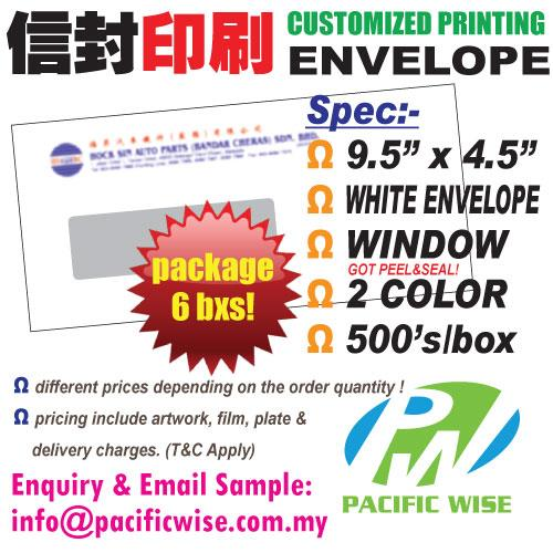 CUSTOMIZED PRINTING White Envelope Window 9.5'x4.5'2color@6bxs!