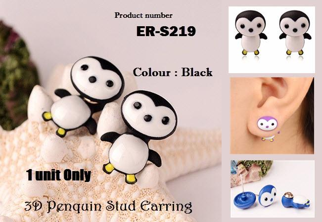 Cute 3D Black Penquin Stud Earring