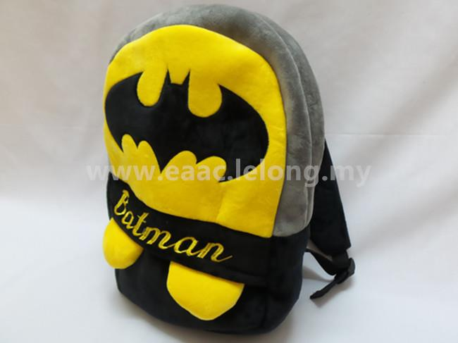 Cute Cartoon Bat Man Kid Backpack School Shopping Shoulder Bag (L)