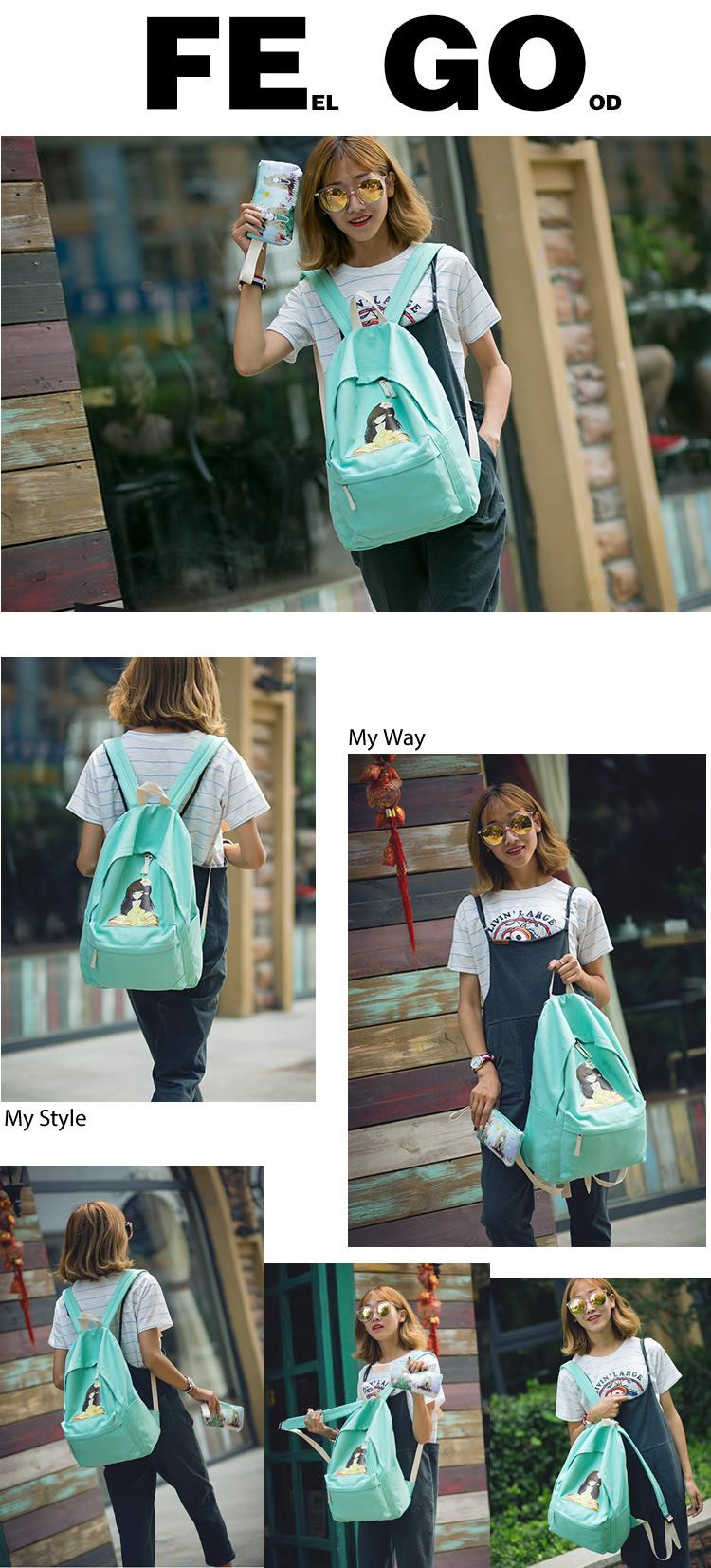 Cute Girl Cartoon Canvas Backpack MC107