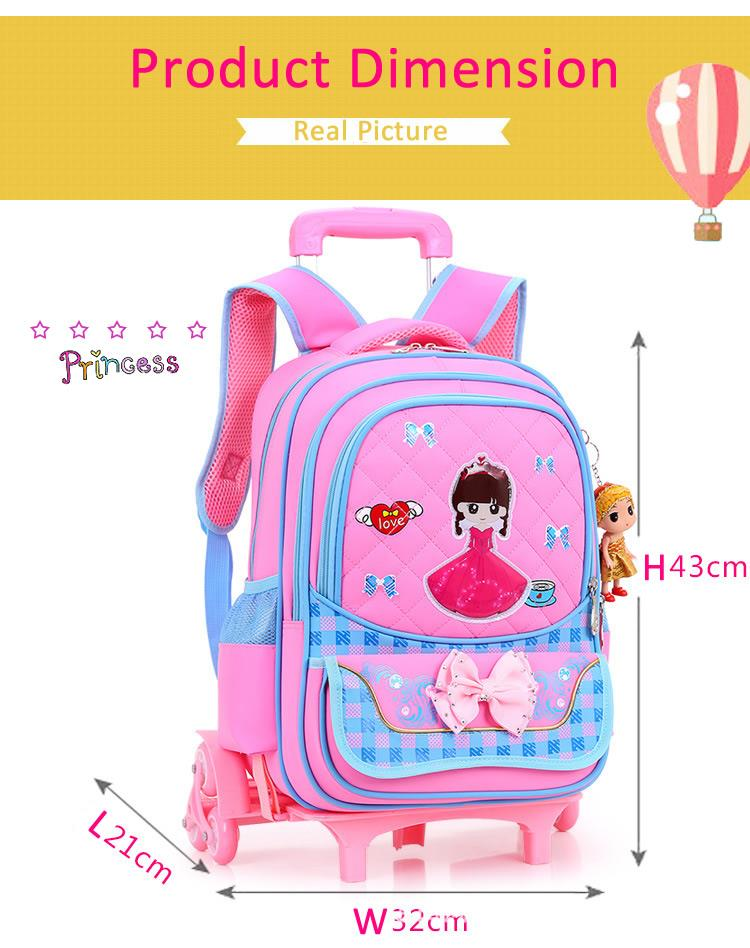 Cute Girl's Heavy Duty Cartoon 6 Wheels Trolley School Backpack MC111