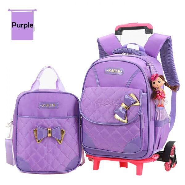 Cute Girl's Heavy Duty Six Wheels Trolley School Bag Backpack MC110