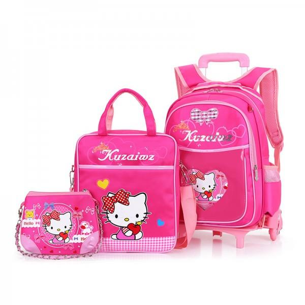 Cute Girl's Heavy Duty Six Wheels Trolley School Bags Backpack MC109