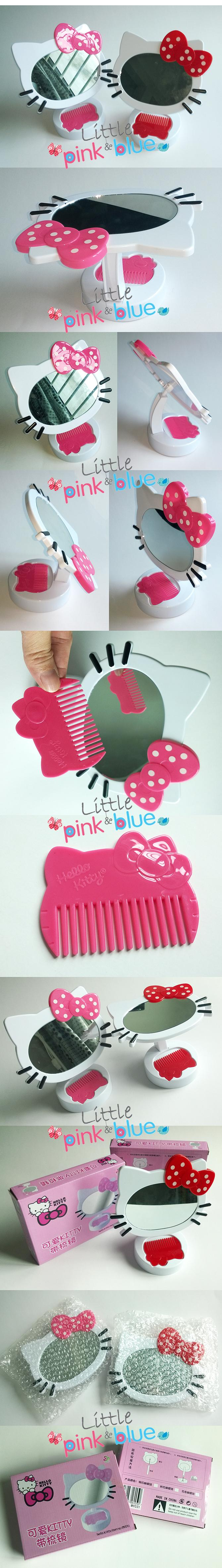 Cute Hello Kitty Standing Make Up Table Mirror With Comb