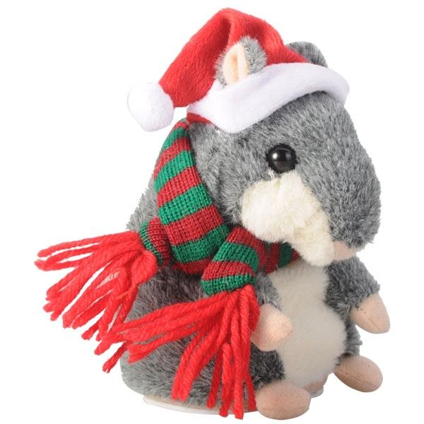 Cute Mimicry Hamster Copy Voice Pet Talking Toy with Christmas Dress -